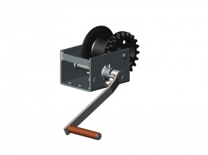 Big gear winch for curtain sysyems and drinking systems